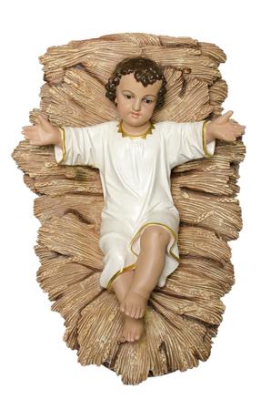 guardería: Bebé recién nacido Jesucristo como figura cuna Foto de archivo