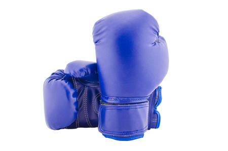 Vintage dark blue color Boxing gloves Front and Back side with white blackground