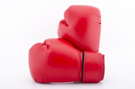 Boxing gloves red isolated on white Stock Photo