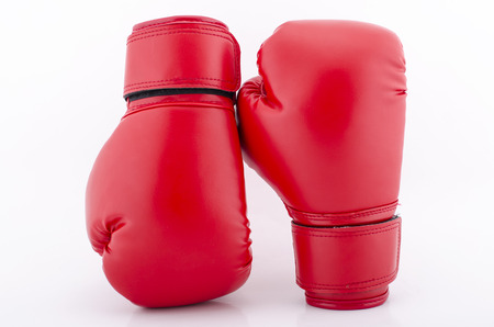 Red Boxing gloves isolated with white blackground Stock Photo