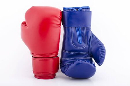 Boxing gloves on a white background close up Stock Photo