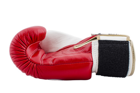 red boxing glove isolated on white background photo