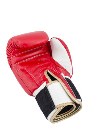 Red boxing gloves on a white background Stock Photo