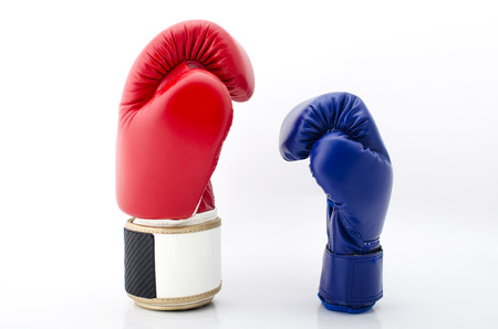 Close up of the boxing-gloves on the white background. Stock Photo