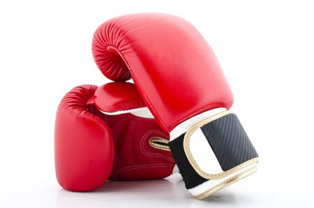 violence in sports: A pair of Red Boxing Gloves on a white Background