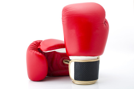 A pair of Red Boxing Gloves on a white Background