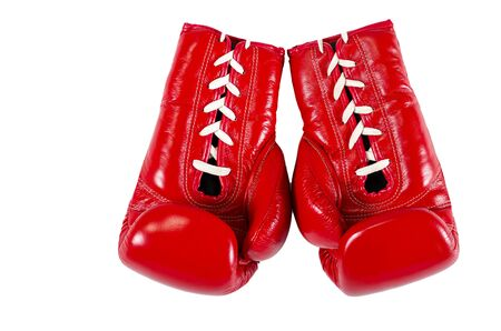 Red boxe gloves isolated over white background