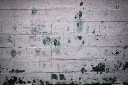 dirty worn white gray wall with remains of pink paint and repair