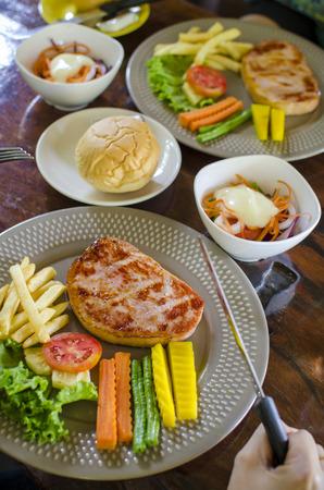 Grilled pork steak and vegetables