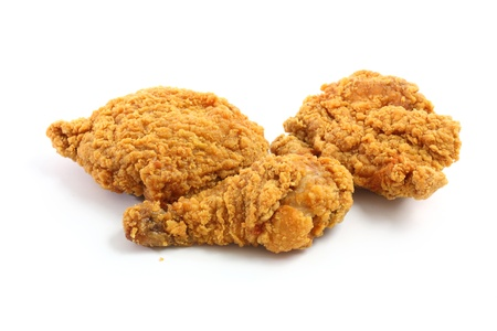 crispy: Fry chicken isolated in white background