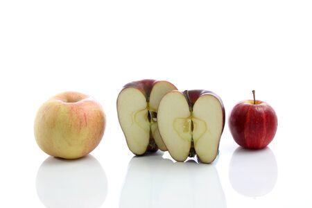 Fresh red apple close up isolated on white background  photo
