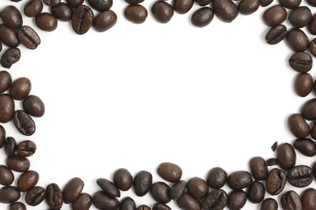 Brown coffee beans stripes isolated in white background, with copyspace.  Stock Photo