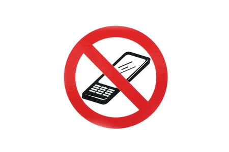 restrictions: no mobile cell phone sign in white background  Stock Photo