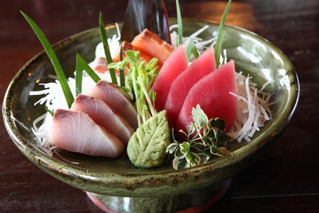 Sashimi , salmon saba octopus tuna raw fish japanese food Stock Photo - 10084250