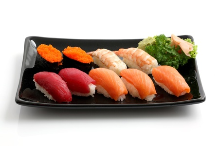 sushi plate: sushi isolated in white background