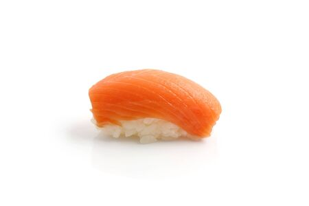 Salmon sushi isolated in white background photo