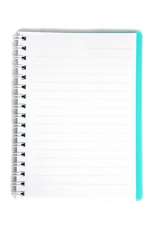 blue notebook isolated on white background  photo