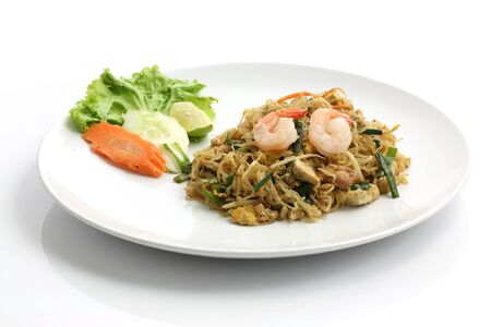 Thai food , Pad thai isolated in white background photo
