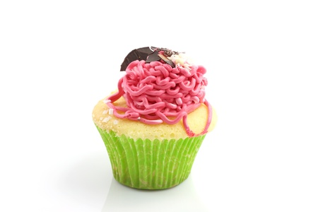 strawberry cup cake isolated in white background photo