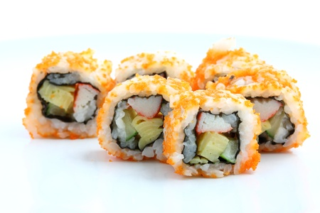 california roll: Sushi California Roll on dish isolated in white background  Stock Photo