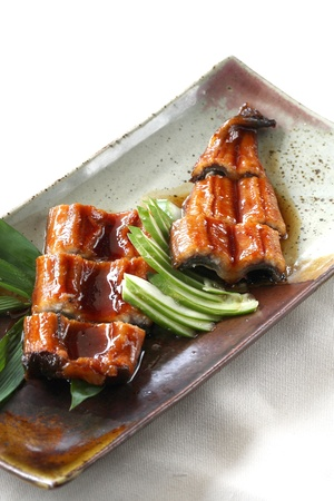 eel: japanese food roast eel ( unagi ) with dark brown wood pattern