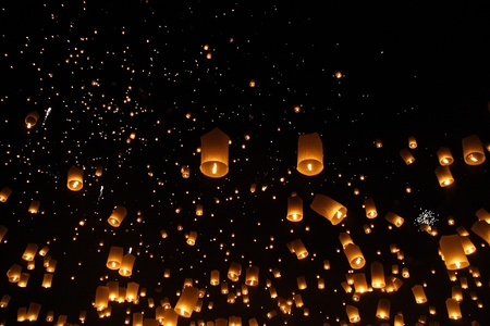 Happy newyear christmas beautiful balloon yeepeng lantern traditional at night in Chiangmai Thailand