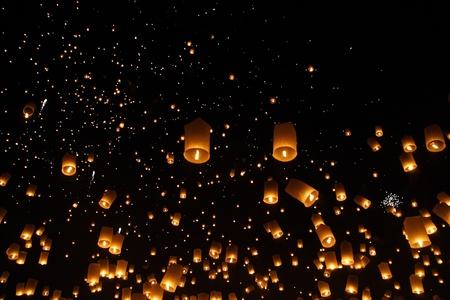 Happy newyear christmas beautiful balloon yeepeng lantern traditional at night in Chiangmai Thailand