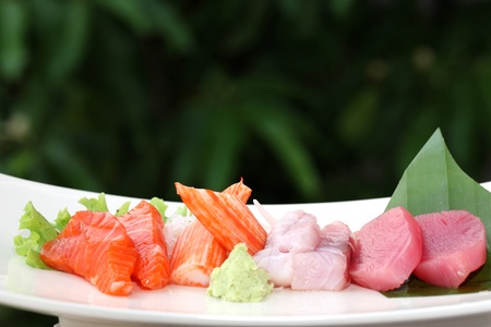 Sashimi , salmon saba octopus tuna raw fish japanese food  photo