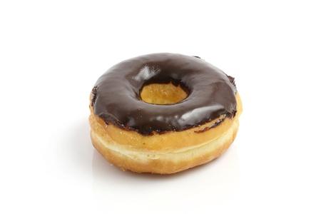 glazed: Chocolate donut isolated in white background