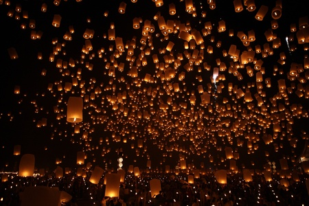 North of Thailand Happy newyear christmas balloon yeepeng traditional at night photo