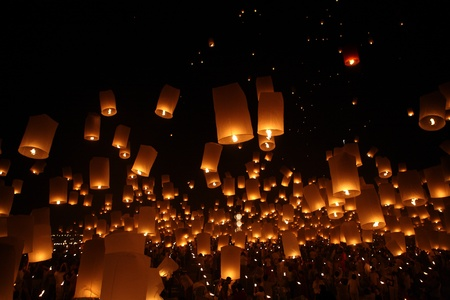 newyear night: North of Thailand Happy newyear christmas balloon yeepeng traditional at night