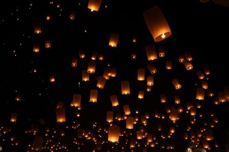 lantern balloon traditional at night