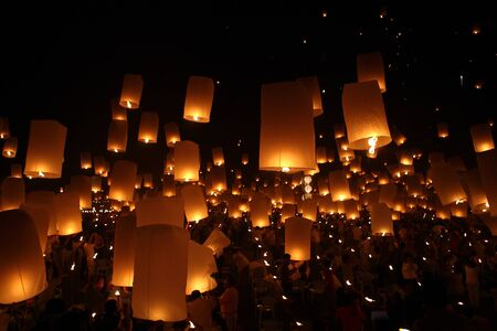 Thailand Happy newyear christmas balloon yeepeng traditional at night  Stock Photo - 10265161