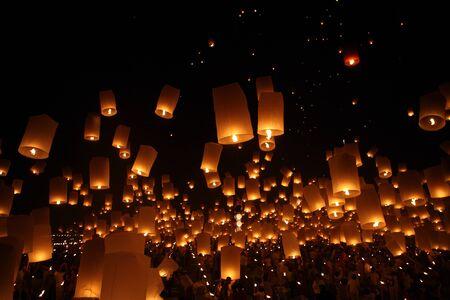 Happy newyear christmas balloon yeepeng traditional at night  photo