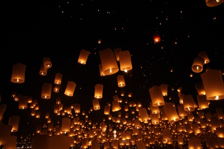 newyear night: North of Thailand Happy newyear christmas balloon yeepeng traditional at night  Stock Photo