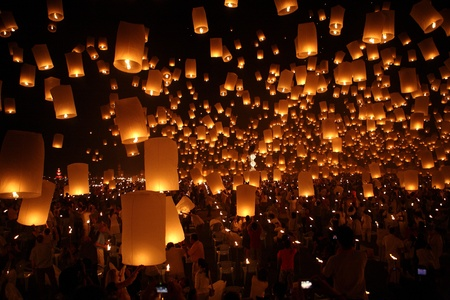 North of Thailand Happy newyear christmas balloon yeepeng traditional at night  Stock Photo