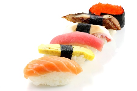 Mix sushi isolated in white background