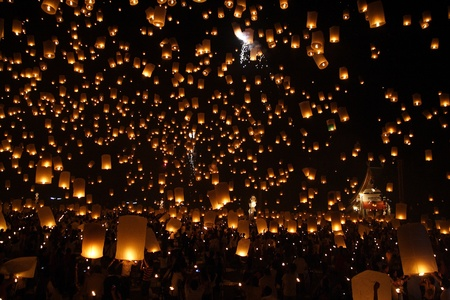 chirstmas: North of Thailand Happy newyear christmas balloon yeepeng traditional at night