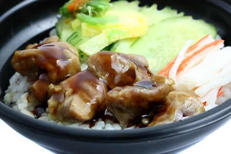 Chicken grill with rice photo