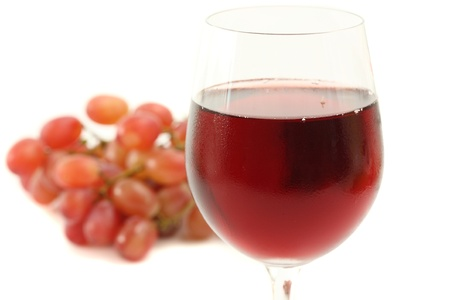 wine with grape isolated in white background photo