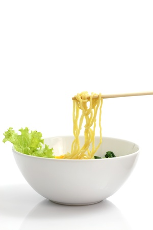 noodle bowl: Noodle ramen japanese food isolated in white background