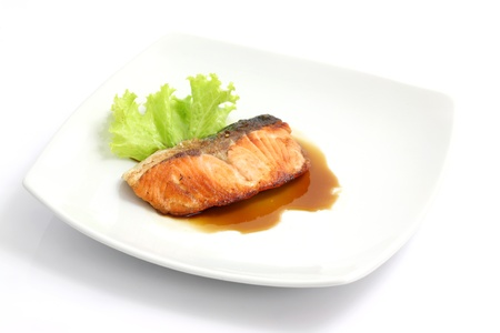 salmon grilled isolated in white background photo