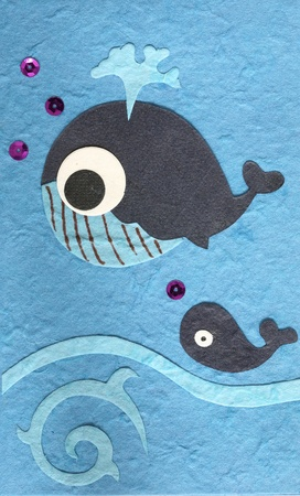 Papercraft whale fish on sea background  photo