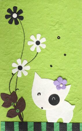 scrapbook homemade: papercraft Dog with flower in green background