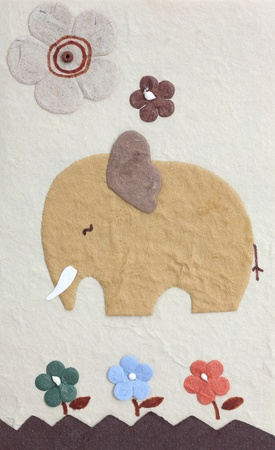 Papercraft elephant and flower , my handmade photo