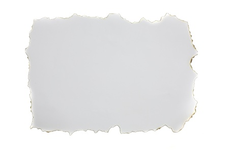 fire burn paper isolated in white background photo
