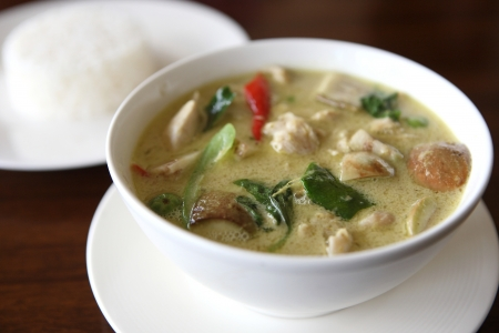 Thai food , green curry with rice