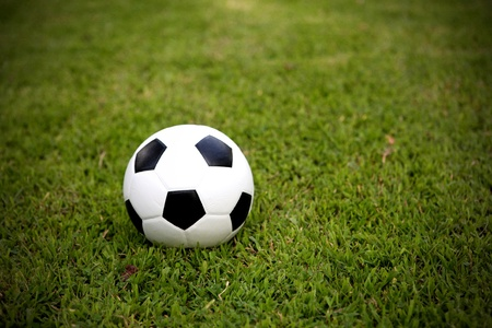 football on grass background Stock Photo
