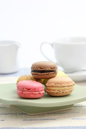Macaron with tea cup photo