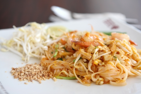 Thai food padthai on wood background photo